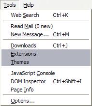Potete gestire le impostazioni di Temi ed Estensioni dal menu Strumenti di Firefox
